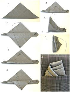 This is how you fold a pocket square like a pro. - This is how you fold a pocket square like a pro. - This is how you fold a pocket square like a pro. - This is how you fold a pocket square like a pro. Pocket Square Folds, Pocket Square Styles, Men's Pocket Squares, Pliage Pochette Costume, Mens Fashion Suits, Fashion Outfits, Fashion Trends, Mens Suits, Grey Suits