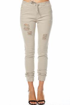 Distressed Jogger Pants (Khaki)
