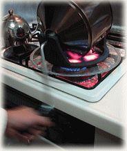 焙煎器の焙煎回転時の写真です