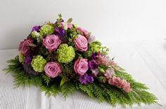 Pink and Green memorial teardrop. Funeral Flower Arrangements, Funeral Flowers, Casket Sprays, Paisley Art, Cemetery Flowers, Sympathy Flowers, Fall Flowers, Pink And Green, Floral Design