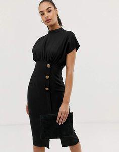 8b13d40eeb ASOS DESIGN linen midi dress with high neck and tortoiseshell buttons  Asos   AsosDesign