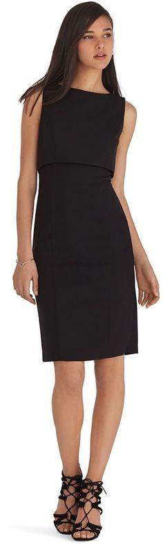 Petite Sleeveless Removable Tier Black Sheath Dress