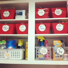 Laundry room organization with Dollar Tree bins