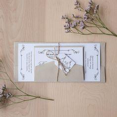 Rustic Vintage Wedding Invitation, Rustic Invitation, Wood texture, Calligraphy invitation with jute twine and monogram tag- via Etsy