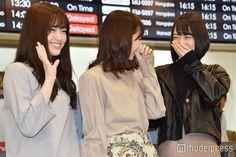 左から;松村沙友理、西野七瀬、堀未央奈/松山空港到着時の様子 (C)モデルプレス