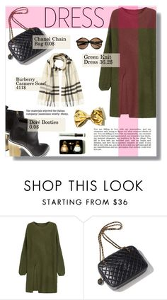 """""""Army Green Dress"""" by nadia-gadelmawla ❤ liked on Polyvore featuring WithChic, Garance Doré, Chanel, D&G and Burberry"""