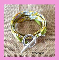 Bracelet liberty june meadow jaune double tour : Bracelet par crocmyys