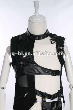 Men Punk Gothic Leather Vest 91006BK RQ-BL