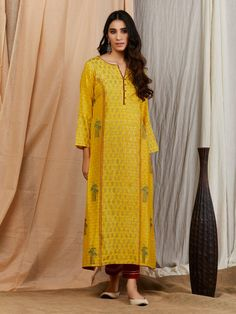 The Loom- An online Shop for Exclusive Handcrafted products comprising of Apparel, Sarees, Jewelry, Footwears & Home decor. Cotton Silk, Printed Cotton, African Fashion, Indian Fashion, Yellow Kurti, Kurta Patterns, Neck Designs For Suits, Silk Suit, Red Pants
