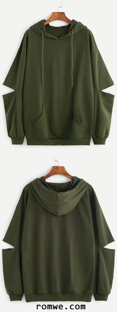 Army Green Drop Shoulder Elbow Cutout Hooded Pocket Sweatshirt