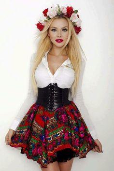 Sexy Dresses, Evening Dresses, Polish Clothing, Polish People, Culture Clothing, Folk Costume, Queen, Polish Girls, Retro Dress