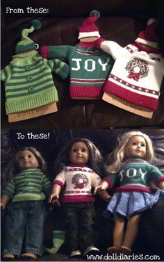 Adorable sweaters for American Girl dolls made from bottle warmers sold at Marshalls.
