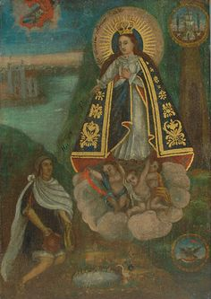 """Our Lady of Ocotlan,"""" Mexico, 19th century  (courtesy Mexican Retablos)    This Digital Metaltype references the retablos, or retablos santos, tradition. This is a particular style of devotional painting found throughout Latin & South America, which was introduced into the area as a result of the Spanish conquest.    Originally, only the wealthy could afford retablos, as they were painted on expensive substrates—canvas, wood or copper. By the early 1800s, however, cheaper tin-plated steel…"""