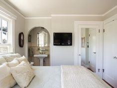 """Edgecomb Gray HC-173 (flat) by Benjamin Moore, and the trim color is Cotton Balls 2145-70 (semi-gloss) also by BM."""