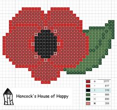Hancock's House of Happy: Lest We Forget I want to stitch this on plastic canvas and put a badge clasp on the back :) Cross Stitch Tree, Modern Cross Stitch, Cross Stitch Flowers, Cross Stitch Charts, Cross Stitch Designs, Cross Stitch Patterns, Knitted Poppy Free Pattern, Poppy Pattern, Cross Stitching