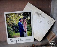 Vintage Polaroid Photo Thank You Card - http://www.wedfest.co/polaroid-wedding-thank-you-cards/