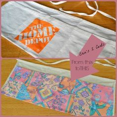 Glue fabric over a chain store utility apron to make into a craft apron. Make a No Sew Apron for Und Fabric Crafts, Sewing Crafts, Sewing Projects, Sewing Ideas, Home Depot Apron, Tool Apron, Teacher Apron, Sewing Aprons, No Sew Apron