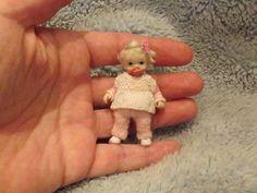 Miniature handmade MINI BABY GIRL TODDLER ooak DOLLHOUSE ART DOLL HOUSE ARTIST