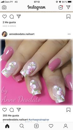 Pink Nail Art, Flower Nail Art, Pink Nails, Colorful Nail Designs, Nail Designs Spring, Nail Polish Designs, Nail Art Designs, Cute Nails, Pretty Nails