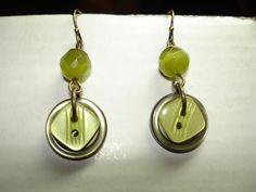 Green Button Earrings - Dangle Button Earrings - Button Jewelry - BUTTON EARRINGS. $8.00, via Etsy.