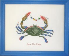 The Christmas Crab Cross Stitch Pattern PS-9840 (intermediate, wall hanging)