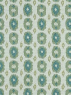 Contemporary Teal Ikat Fabric Upholstery by greenapplefabrics, $52.00