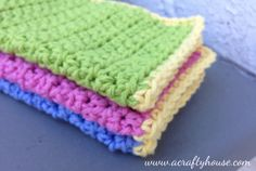 Hi there…. I'm Ashley from A Crafty House and I'm so excited to be guest posting today on Nap Time Crafters! I'm an avid knitter and crocheter and am looking forward to sharing these easy crochet dishcloths with you all today. I'm hoping to inspire some of you out there to try crocheting — I promise, it's not just for cute little old ladies (check