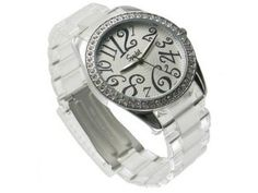 Clear Plastic Round White Dial WIth Arabic Numerals White Round Stone Bezel