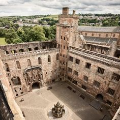 The ruins of Linlithgow Palace are situated in the town of Linlithgow, West Lothian, Scotland, west of Edinburgh.