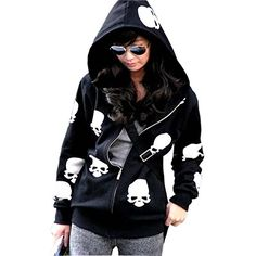 Meilaier Womens Fashion Skull Hoodies Outwear Zip Up Hooded Coats Jackets at Amazon Women's Clothing store:
