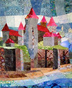 Castello sulla scogliera arte tessuto trapunta di ccollier