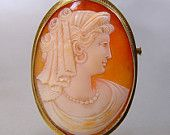 Antique 14K Gold Cameo Brooch Large Pendant Hera Hand Carved Italy Vintage 1900 Jewelry