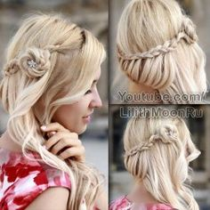 Side swept braided half up half down hairstyle with curls