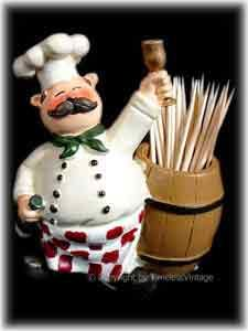 Italian Fat Chef Paper Towel Holder | Fat French Chef Toothpick Holder Fatu2026
