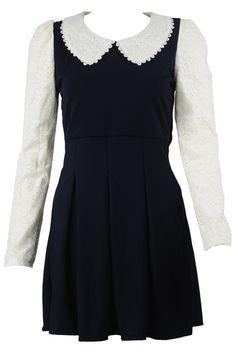 peterpan collar dress white black
