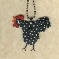 Rooster Crowing Black  With White Spots Necklace by Freeheart1, $14.00
