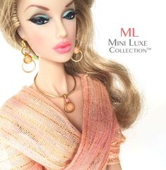 Fashion Doll Jewelry - Peach Pendant and Earrings for Fashion Royalty, Barbie, Silkstone Barbie, Poppy Parker, Dynamite Girls by MiniLuxeCollection, $28.00
