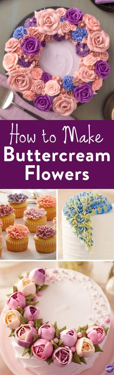How to Make Buttercream Flowers - Learn how to make 4 popular buttercream frosting flowers: the tulip, the wild rose, carnation and hydrangea. (How To Make Cake Designs) Frosting Techniques, Frosting Tips, Frosting Recipes, Cake Recipes, Decoration Patisserie, Dessert Decoration, Cake Decorating Tutorials, Cookie Decorating, Decorating Cakes