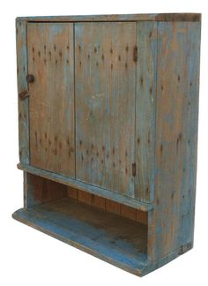 Hanging cupboard in original robins egg blue paint Circa 1840-1860