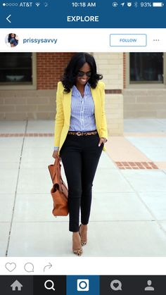 For outfit details yellow blazer outfits, yellow cardigan, blue striped shi Spring Work Outfits, Spring Fashion Outfits, Casual Work Outfits, Office Outfits, Work Casual, Autumn Fashion, Office Attire, Casual Office, Outfit Work