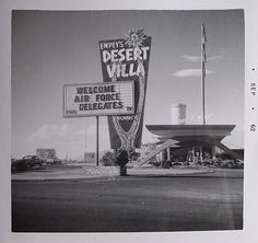 Empeys Desert Villa on the Las Vegas Strip, 1962. This motel opened 1952 on the famous four corners of the Las Vegas Blvd & Flamingo Road, adjacent to the Flamingo Hotel. In 1975 it became Times Square Motel, demolished only two years later, and replaced with Barbary Coast.