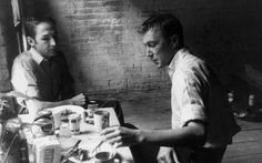 Lovers and artistic collaborators Jasper Johns and Robert Rauschenberg. Picture: Rex - click through to find out about our exhibition