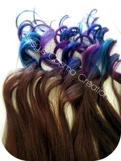 """ONE PIECE 12"""" Purple Pink Teal Indigo Blue Brown Ombre Dip Dye Clip In Human Hair Extensions. $5.00, via Etsy."""
