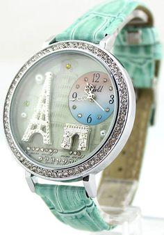 Vintage Eiffel Tower rhinestone trim Watch