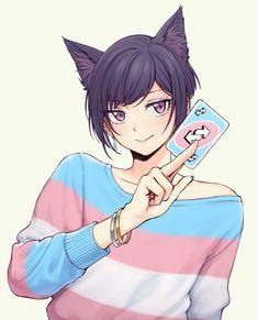 Comic Anime, Anime Art, Neko, Touko Pokemon, Transgender Ftm, Trans Boys, Trans Art, Lgbt Memes, Lgbt Flag