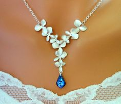 Orchid Necklace Y BLUE Peacock Sterling Silver Wedding Jewelry - Wedding Jewelry   Bridesmaid