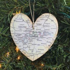 Personalized London Ornament, London Map Ornament, London Christmas Ornament, London Map Christmas Ornament, London England Ornament, Trip by AtHomeWithWords on Etsy https://www.etsy.com/listing/594035424/personalized-london-ornament-london-map