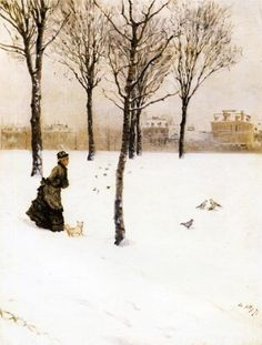 A Winter's Landscape, 1875  - DE NITTIS