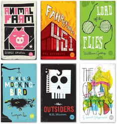 Animal Farm, Fahrenheit 451, Lord of the Flies, To Kill a Mocking Bird, The Outsiders, The Great Gatsby.    Covers by Mikey Burton
