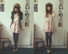 Floral, Vestido, Blazer Bowler Hat,